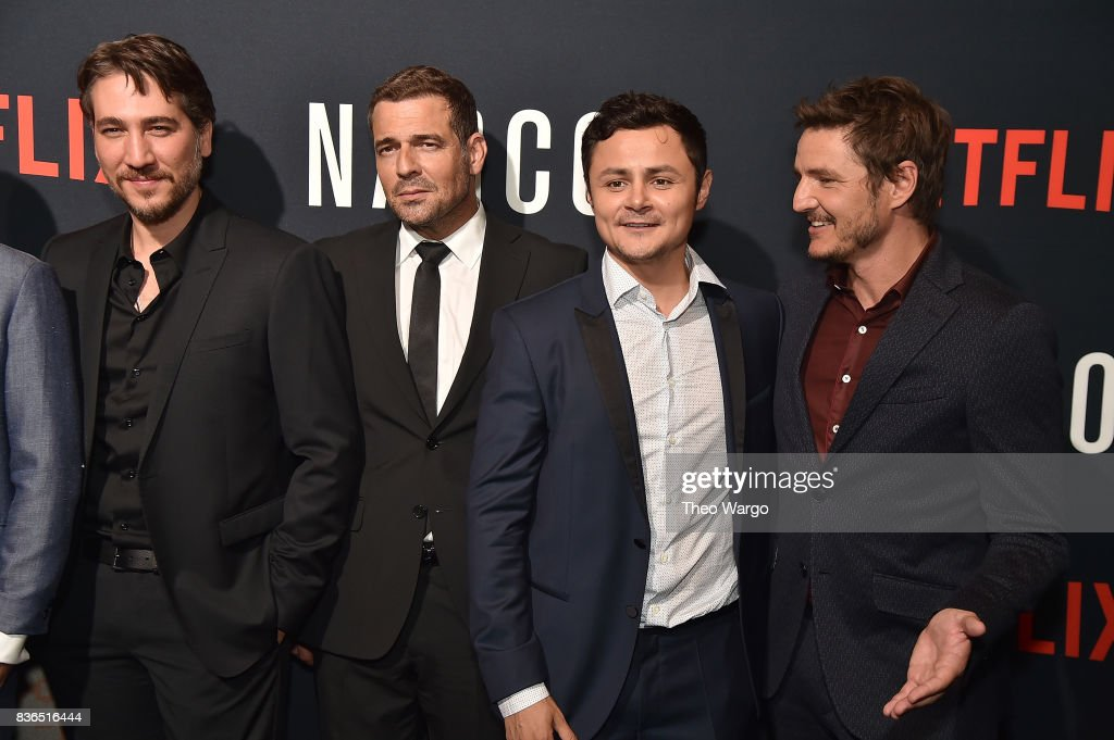 Alberto Ammann, Pepe Rapazote, Arturo Castro and Pedro Pascal attend the 'Narcos' Season 3 New York Screening at AMC Loews Lincoln Square 13 theater on August 21, 2017 in New York City.