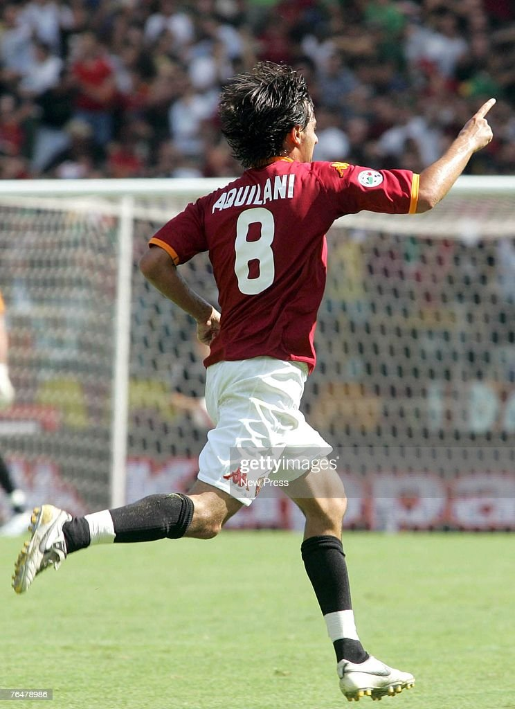 Alberto Aquilani celebrates scoring the first goal for Roma during a Serie A match between Roma and Siena at the Stadio Olimpico on September 02, 2007 in Rome, Italy.
