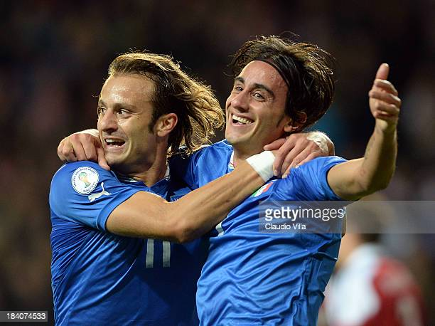 Alberto Aquilani of Italy celebrates scoring their second goal during the FIFA 2014 world cup qualifier between Denmark and Italy on October 11 2013...