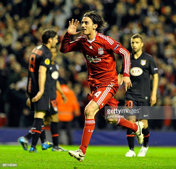 Alberto Aquilani of Liverpool celebrates after scoring the opening goal during the UEFA Europa League Semi-Finals Second Leg match between Liverpool...