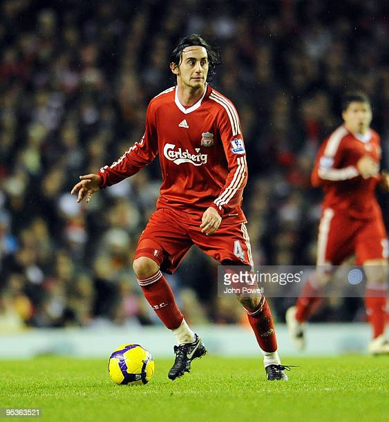 Alberto Aquilani of Liverpool in action during the Barclays Premier League match between Liverpool and Wolverhampton Wanderers at Anfield on December...