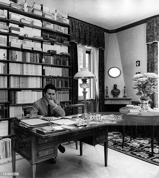 Alberto Arbasino Italian writer essayist and journalist sitting at a desk