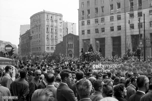 Alberto Ascari, Alberto Ascari's funeral, Milan, 30 May 1955. A solemn procession carrying Alberto Ascari, the fallen hero, moved slowly through the...