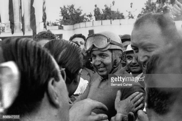 Alberto Ascari, Grand Prix of Italy, Autodromo Nazionale Monza, 07 September 1952. Alberto Ascari at the finish after winning the 1952 Italian Grand...