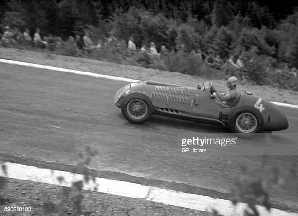 Alberto Ascari in a Ferrari 125 in the Belgian GP Spa 1950
