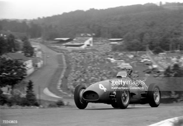 Alberto Ascari tops the hill at Raidillon on his way to a victory with the Ferrari 500 F2 during the Belgian Grand Prix, Spa-Francorchamps, 22nd June...