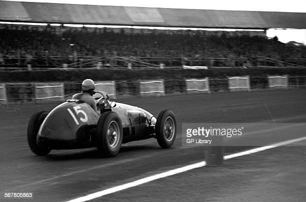 Alberto Ascari winning in a works Ferrari 500 at Stowe Corner British Grand Prix 19th July Silverstone England 1952