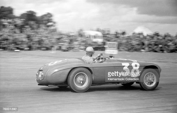 Alberto Ascari winning the Production Car Race in a Ferrari 166MM at The International Daily Express Trophy Race Silverstone 26th August 1950...