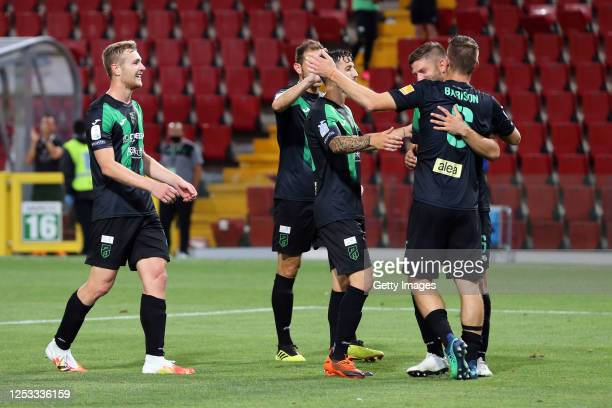 Alberto Barison of Pordenone celebrates with teammates after scoring his team's second goal during the serie B match between Pordenone Calcio and...