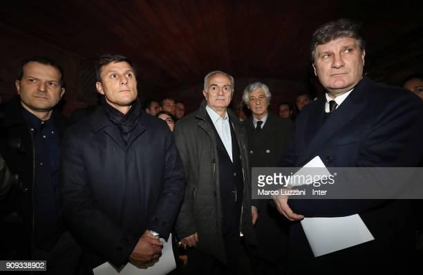 Alberto Bassani Vice President of FC Internazionale Javier Zanetti Sandro Mazzola Gianni Rivera and Antonio Comi visit The Holocaust Memorial at...