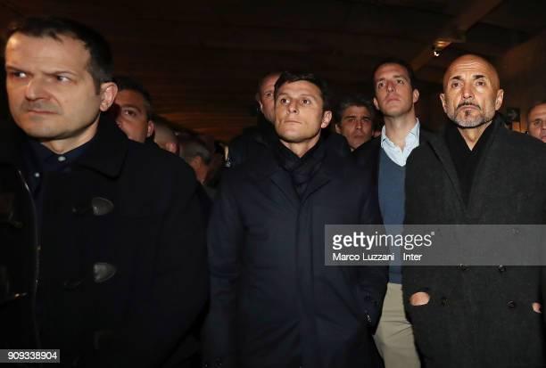Alberto Bassani Vice President of FC Internazionale Javier Zanetti and FC Internazionale coach Luciano Spalletti visit The Holocaust Memorial at...