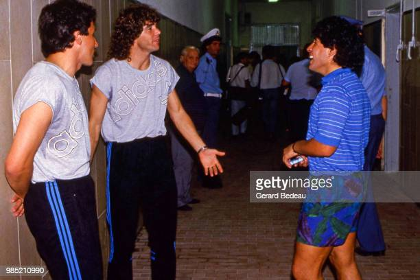 Alberto Beto Marcico Diego Maradona and Alberto Tarantini of Napoli before the UEFA Cup match between Napoli and Toulouse played at Stadio San Paolo...