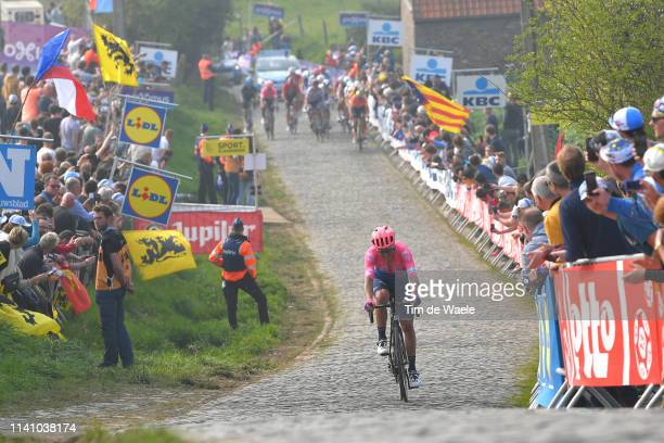 Alberto Bettiol of Italy and Team Ef Education First / Paterberg / Cobblestones / Fans / Public / during the 103rd Tour of Flanders 2019 - Ronde van...