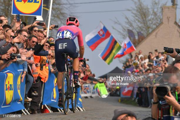 Alberto Bettiol of Italy and Team Ef Education First / Paterberg / Cobblestones / Fans / Public / during the 103rd Tour of Flanders 2019 Ronde van...