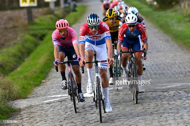 Alberto Bettiol of Italy and Team EF Pro Cycling / Mathieu Van Der Poel of The Netherlands and Team Alpecin-Fenix / Wout Van Aert of Belgium and Team...