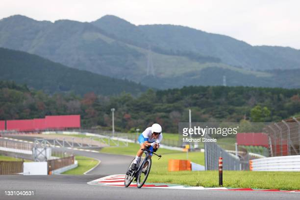 Alberto Bettiol of Team Italy rides during the Men's Individual time trial on day five of the Tokyo 2020 Olympic Games at Fuji International Speedway...