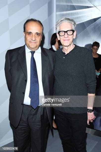 Alberto Bonisoli and David Cronenberg attend Innovating The Creative Experience The Future Of Cinema during the 75th Venice Film Festival at...
