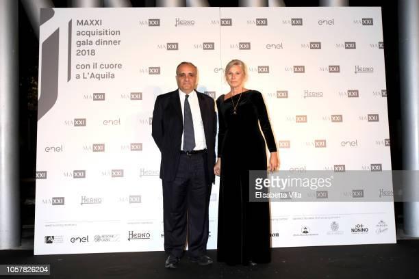 Alberto Bonisoli and Giovanna Melandri attend MAXXI Acquisition Gala Dinner at Maxxi Museum on November 5 2018 in Rome Italy