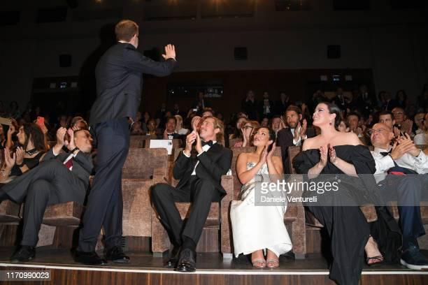 Alberto Bonisoli James Gray Brad Pitt Ruth Negga and Liv Tyler attend the Ad Astra screening during the 76th Venice Film Festival at Sala Grande on...