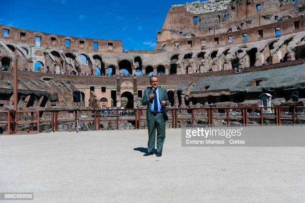 Alberto Bonisoli Minister for Cultural Heritage and Activities and Tourism during the press conference inside the Colosseum to present the project...