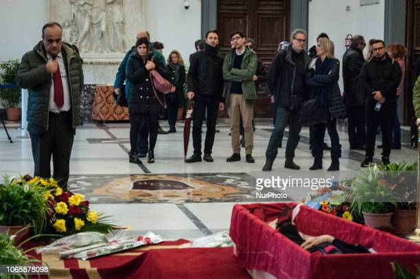 Alberto Bonisoli Minister for Cultural Heritage and Activities pays respect in front of the open coffin of Italian director Bernardo Bertolucci...