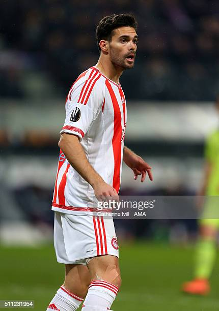 Alberto Botia of Olympiacos during the UEFA Europa League match between Anderlecht and Olympiakos FC at Constant Vanden Stock Stadium on February 18...