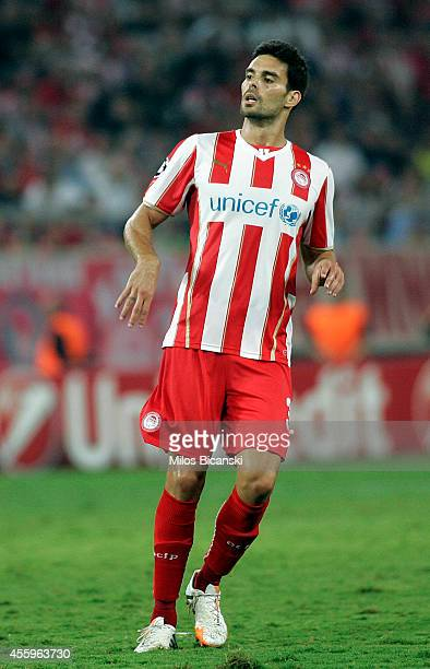Alberto Botia of Olympiacos in action during the UEFA Champions League Group A match between Olympiakos and Atletico Madrid at Georgios Karaiskakis...