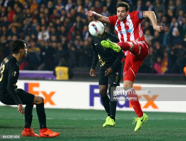 Alberto Botia of Olympiacos in action during the UEFA Europa League final 32 soccer match between Osmanlispor and Olympiacos FC at the Osmanli...