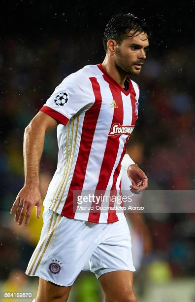 Alberto Botia of Olympiakos looks on during the UEFA Champions League group D match between FC Barcelona and Olympiakos Piraeus at Camp Nou on...