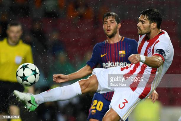 Alberto Botia of Olympicakos in action during the UEFA Champions League group D match between FC Barcelona and Olympiakos Piraeus at Camp Nou on...