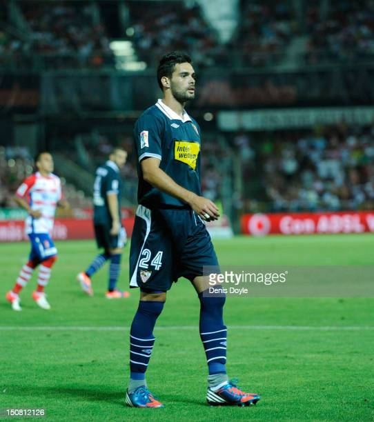 Alberto Botia of Sevilla FC during the La Liga match between Granada CF and Sevilla FC at Estadio Nuevo Los Carmenes on August 26 2012 in Granada...