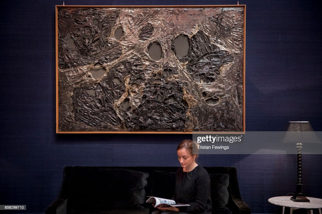 Alberto Burri's Nero Plastica L.A. (Estimate upon request) goes on view as part of Sotheby's Contemporary Impressionist New York TRAVEX highlights preview at Sotheby's on October 6, 2017 in London, England. The Contemporary Art Evening Auction takes place at Sothebys New York on 16th November 2017.