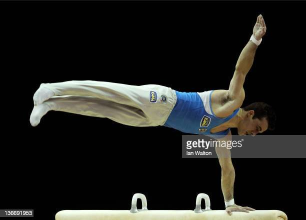 Alberto Busnari of Italy in action on the Pommel Horse during day one of the Men's Gymnastics Olympic Qualification round at North Greenwich Arena on...