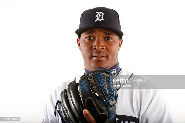 Alberto Cabrera of the Detroit Tigers poses for a photo during the Tigers' photo day on February 28 2015 at Joker Marchant Stadium in Lakeland Florida