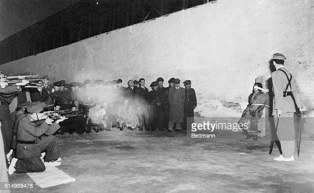 Alberto Cabrero pays with his life before a firing squad for the murder he committed in 1953 of Jaime Schneider a tailor This picture was made at the...
