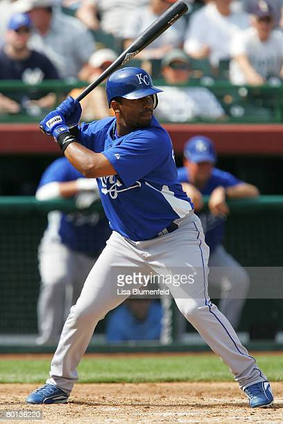 Alberto Callaspo of the Kansas City Royals at bat during a Spring Training game against the San Francisco Giants at Scottsdale Stadium on March 5...