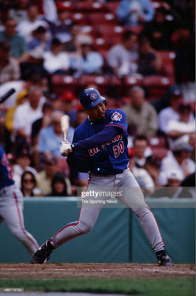 Alberto Castillo of the Toronto Blue Jays bats against the Boston Red Sox at Fenway Park on June 18, 2000 in Boston, Massachusetts.