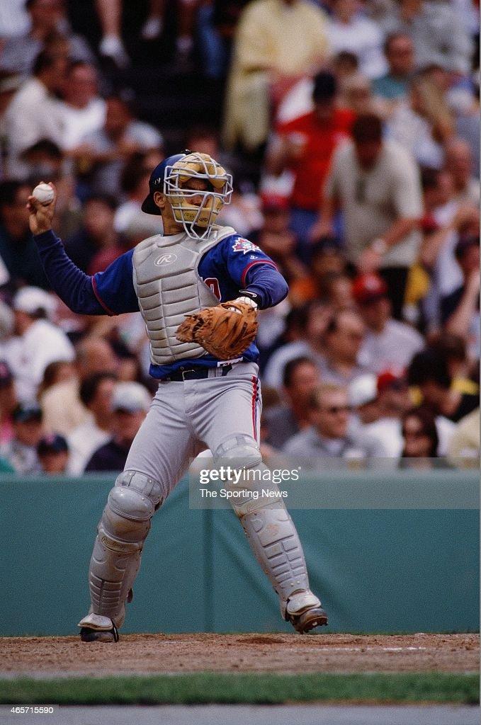 Alberto Castillo of the Toronto Blue Jays catches against the Boston Red Sox at Fenway Park on June 18, 2000 in Boston, Massachusetts.