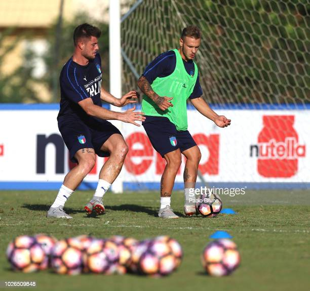 Alberto Cerri and Alessandro Murgia in action during the Italy U21 training session at Mancini Park hotel on September 3 2018 in Rome Italy