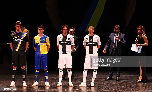 Alberto Cerri Michele Moroni Alessandro Lucarelli Stefano Morrone Pietro Leonardi and Federica Masolin attend the unveling of the new Parma FC club...