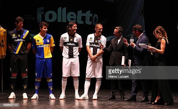 Alberto Cerri Michele Moroni Alessandro Lucarelli Stefano Morrone Alessandro Bonan Pietro Leonardi and Federica Masolin attend the unveling of the...