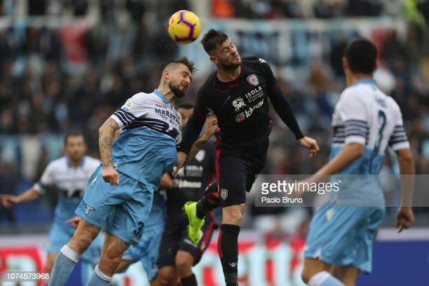 Alberto Cerri of Cagliari and Francesco Acerbi of SS Lazio in action during the Serie A match between SS Lazio and Cagliari at Stadio Olimpico on...