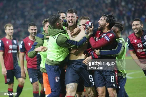 Alberto Cerri of Cagliari celebrates the goal 4-3 during the Serie A match between Cagliari Calcio and UC Sampdoria at Sardegna Arena on December 2,...