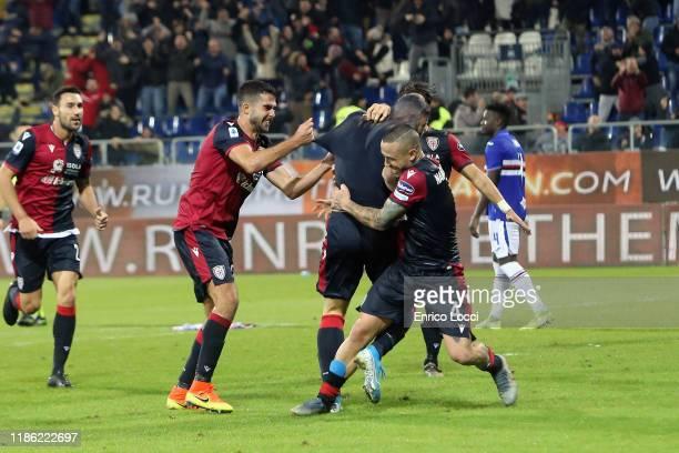 Alberto Cerri of Cagliari celebrates the goal 43 during the Serie A match between Cagliari Calcio and UC Sampdoria at Sardegna Arena on December 2...