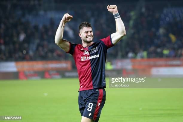 Alberto Cerri of Cagliari celebrates the victory after the Serie A match between Cagliari Calcio and UC Sampdoria at Sardegna Arena on December 2...