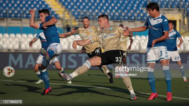 Alberto Cerri of Spal misses a chance of a goal during the Serie A match between Brescia Calcio and SPAL at Stadio Mario Rigamonti on July 19, 2020...