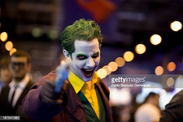 Alberto Chaves dressed as 'Joker' poses for a portrait at Madrid Games Week in IFEMA on November 9 2013 in Madrid Spain Madrid's first edition of the...