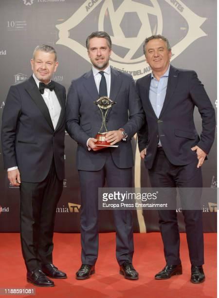 Alberto Chicote Carlos Franganillo and Roberto Brasero attend 'Iris Academia de Television' awards at Nuevo Teatro Alcala on November 18 2019 in...