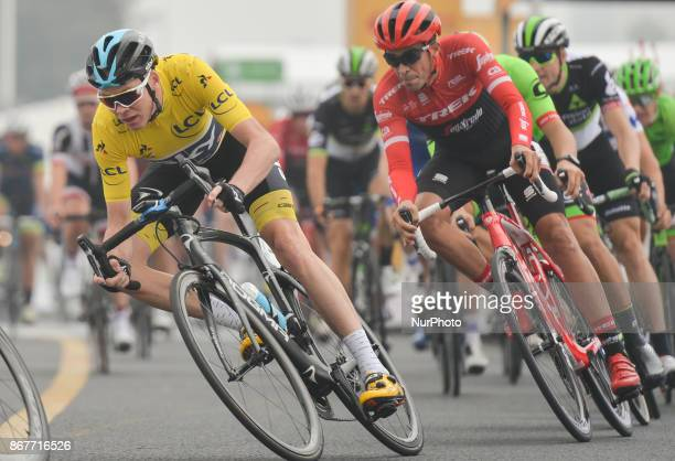 Alberto CONTADOR in action behind Christopher FROOME during the 1st TDF Shanghai Criterium 2017 On Sunday 29 October 2017 in Shanghai China