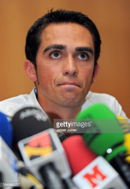 Alberto Contador listens to questions from the media during his press conference pleading his innocence after being tested positive for clenbuterol a...